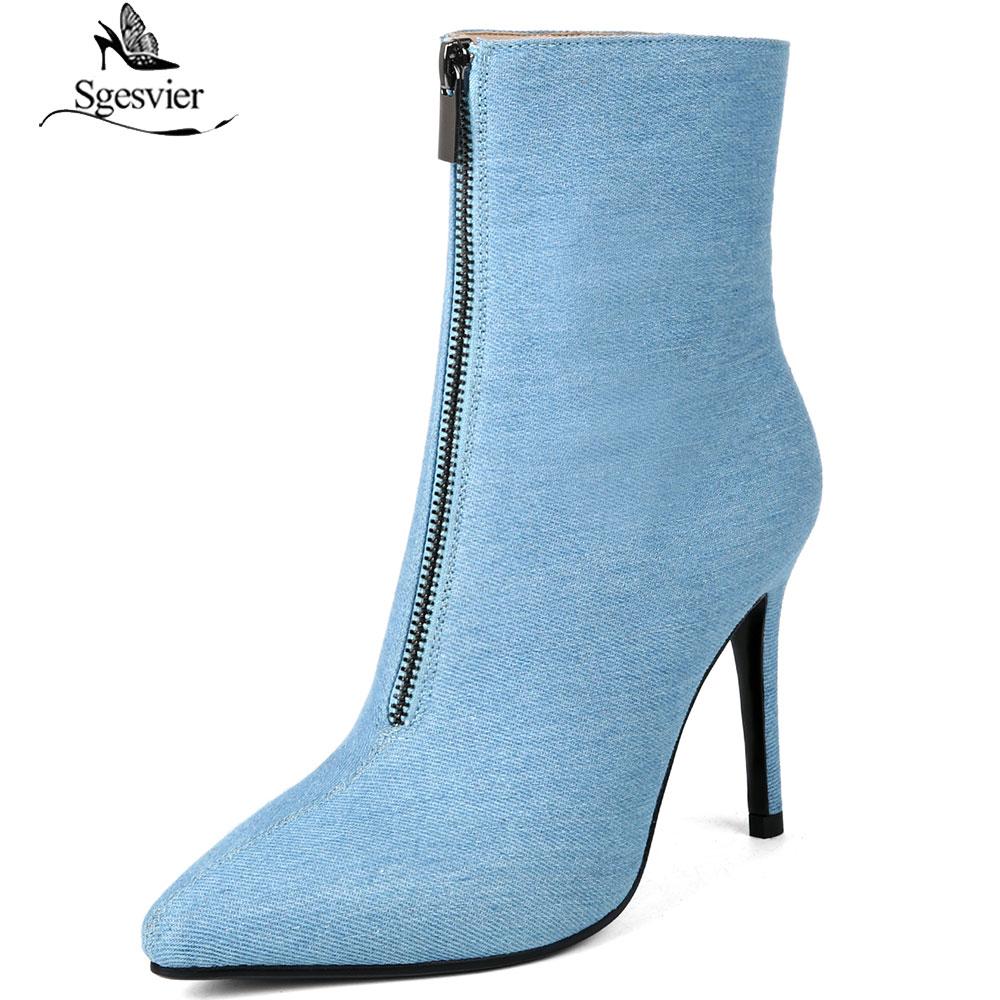 39c479e67 Botas Nueva Sgesvier Tobillo Pasarela De 2019 Moda Denim Alto Primavera  Stiletto Tacón Azul Zapatos Mujer ...