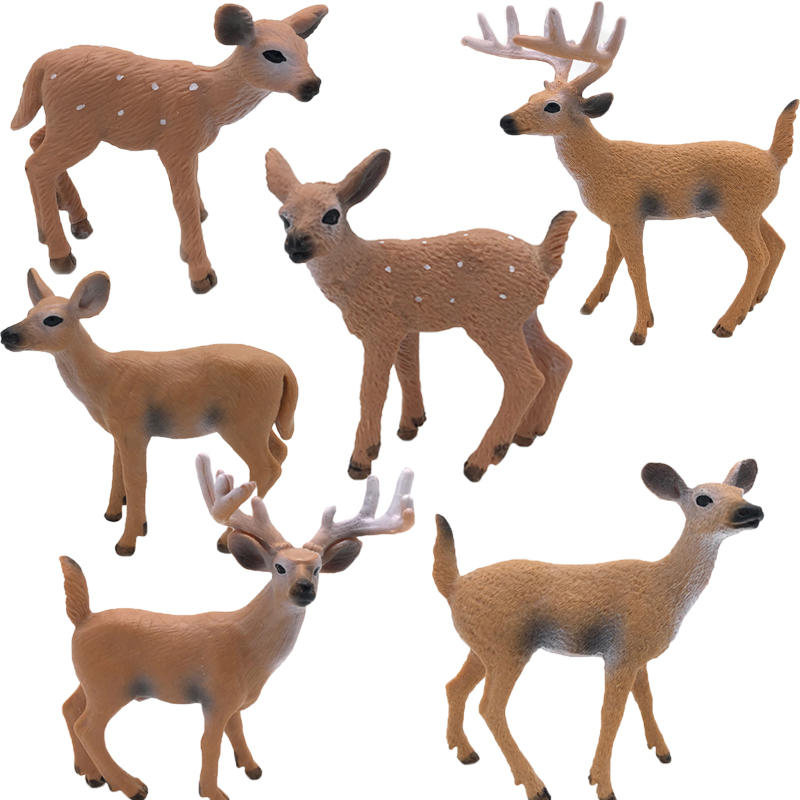 6 Style Action Figures Simulation Wild Animal Model Solid Whitetail Deer Elk Animal Collection Model Kids Toys #E