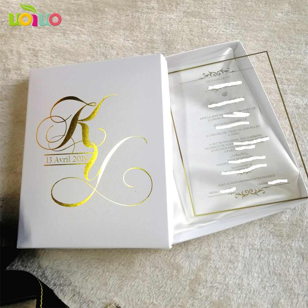 Wedding Invitation Printing.30pcs Hot Sale Custom Printing Clear Acrylic Card Wedding Invitation Card With Boxes Logo On The Box Need Extra Cost