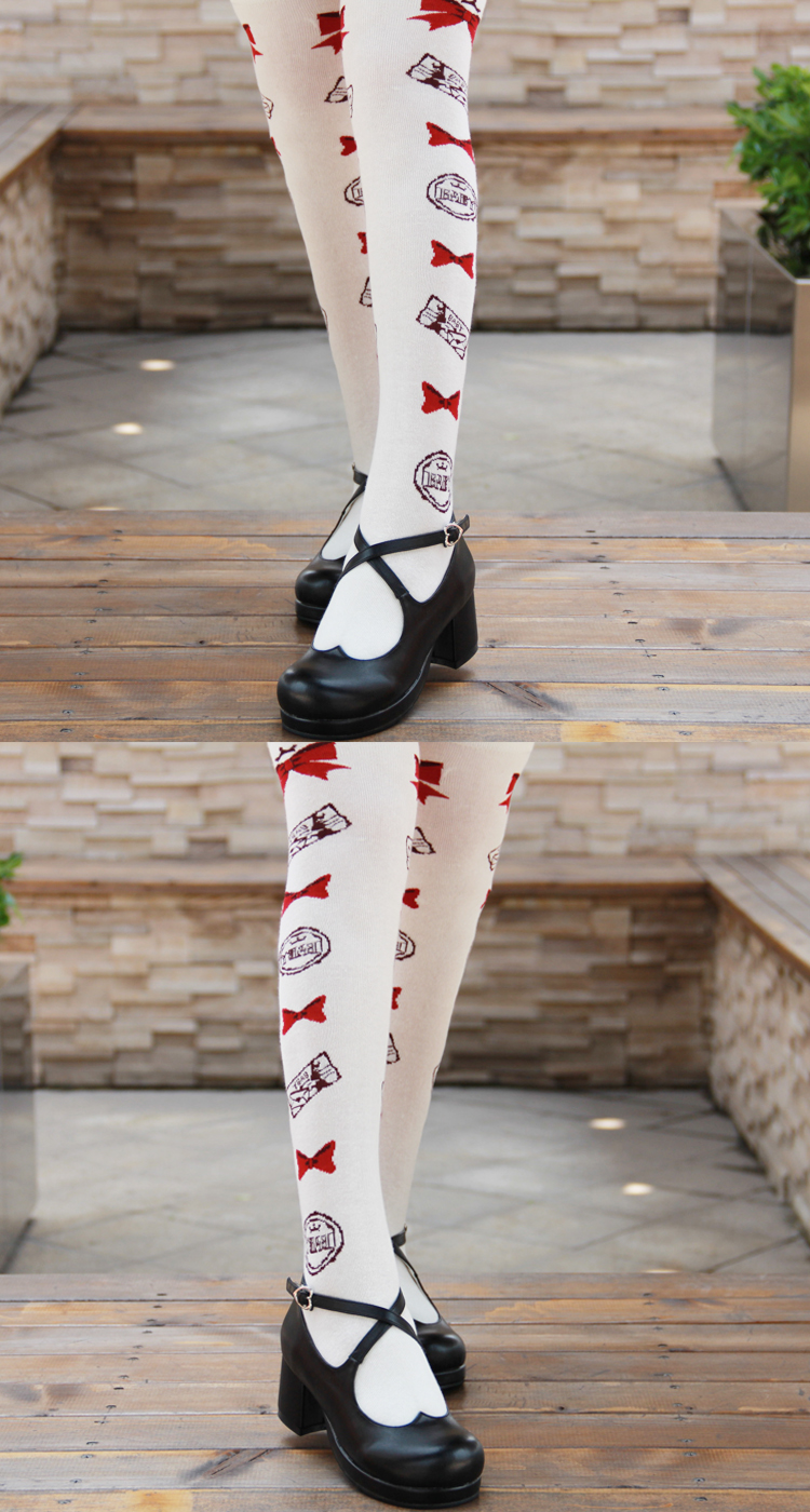 Japanese Sweet-Heart Ankle Strap Black PU Leather Womens Shoes