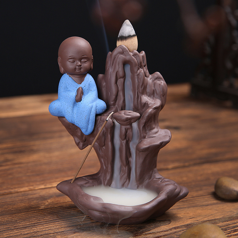 Home Decor Mountain Stream Creative Little Monk Bullet Blackflow Incense Cones Or Incense Stick Burner Smoke Ceramic Censer