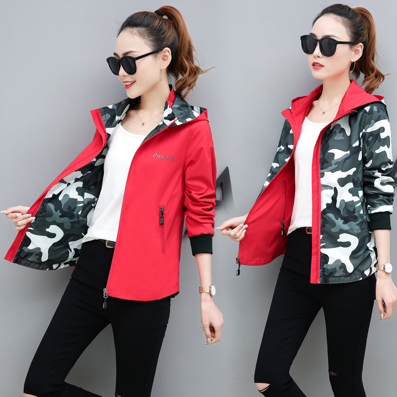 Plus size 4XL 2019 New Spring Women Bomber   Basic     Jacket   Pocket Zipper Hooded Two Side Wear Camouflage Outwear Loose Coat LU860