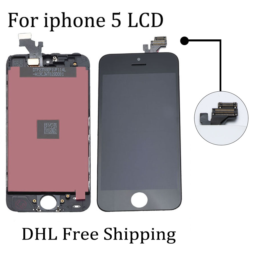 10PCS/LOT LCD Assembly For iPhone 5 No Dead Pixel Replacement Display Touch Screen Digitizer AAA+++ Free Shipping By DHL reatil packaging 1pcs lot for huawei g7 no dead pixel lcd display with touch screen digitizer assembly replacement free shipping