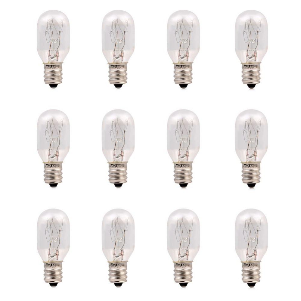 120V 15 Watt Himalayan Salt Lamp Light Bulbs Incandescent Replacement Glass Bulbs E12 Socket-12Pack