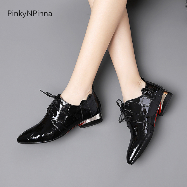 office ladies patent leather shining aligator pattern metallic low heels ruffles women commuter summer autumn Oxford chic shoes