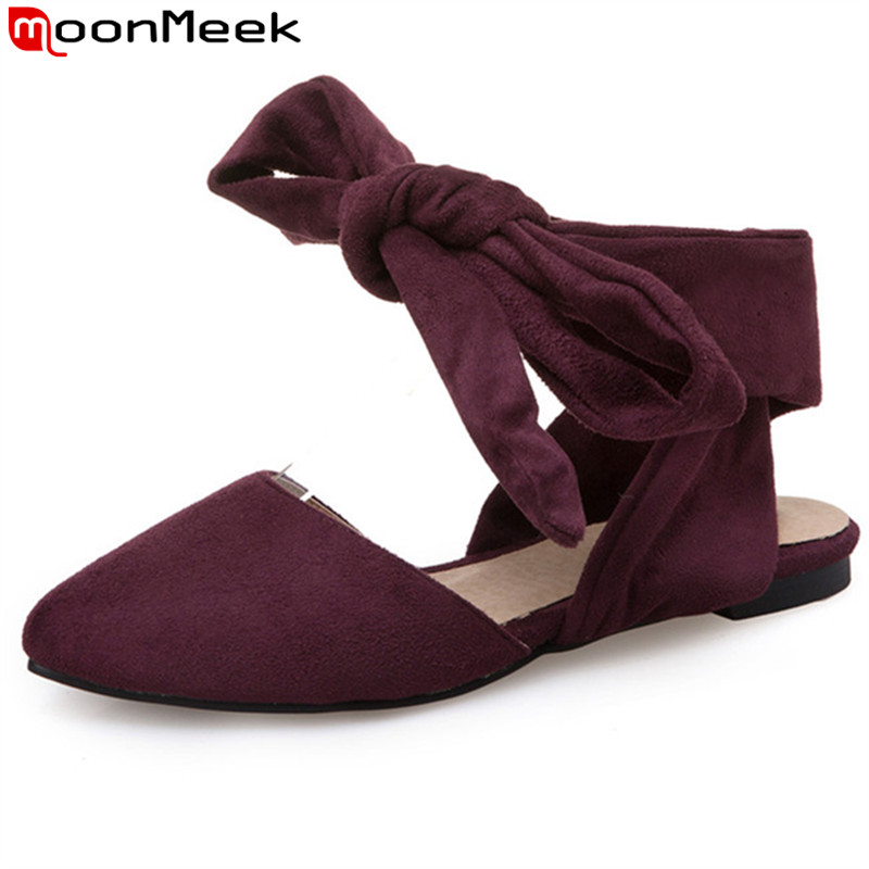 MoonMeek 2020 Summer New Arrive Women Flats Fashion Flock Lace Up Flats Shoes Simple Comfortable Solid Color College Style