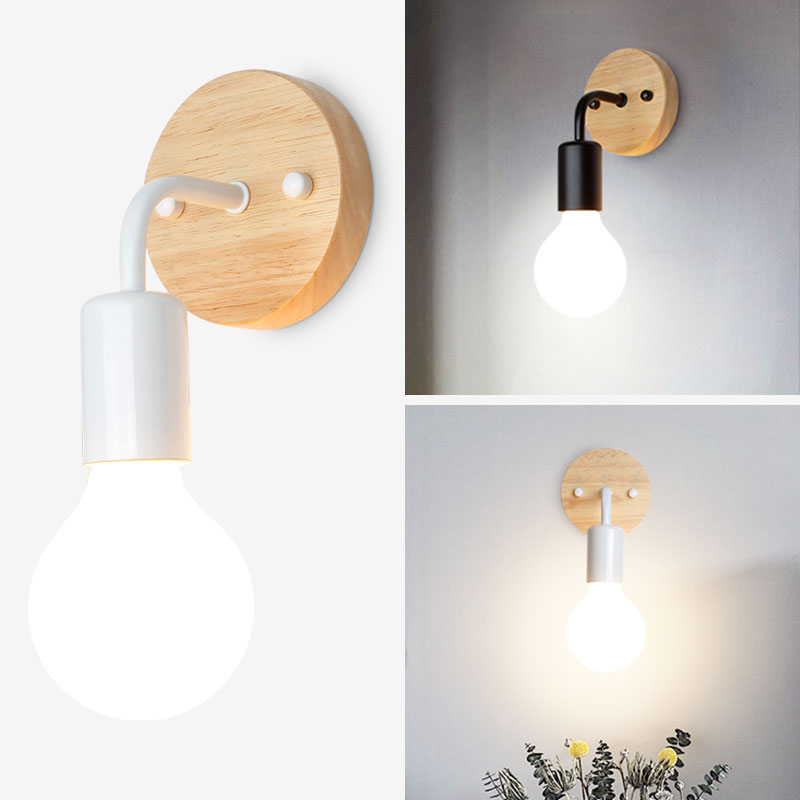 Wall Lamp Nordic White/Black Color Led Wall Light For Bed Room Wooden Base Wall Sconce Light For Living Room