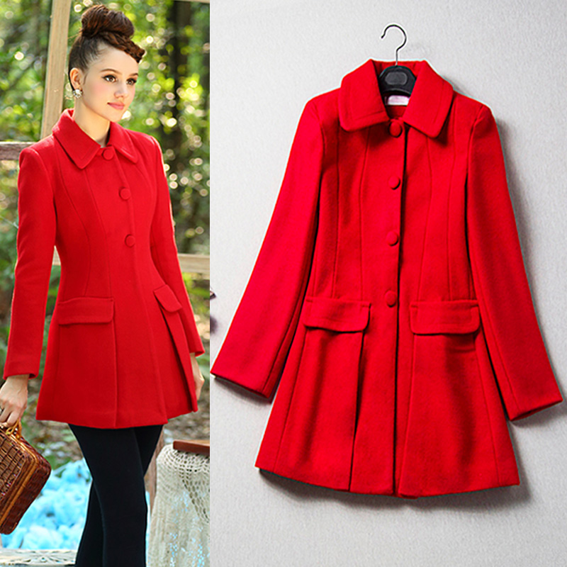 Popular Women Wool Red Coat-Buy Cheap Women Wool Red Coat lots ...