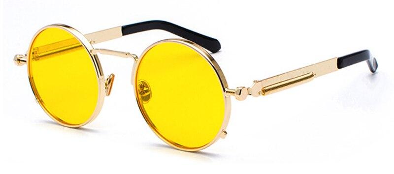 0110051471 Dropwow Kachawoo round gothic steampunk sunglasses men red metal ...