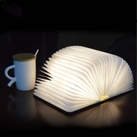 Creative Wood Folding Page Leader Book Colorful Night Light USB Rechargeable Large Size Shape Reading Table Lamp Home Decoration