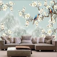 تصاميم غسل الصينية اللوحة زهرة بيضاء و الببغاوات جدار جدارية أريكة خلفية ورق الحائط