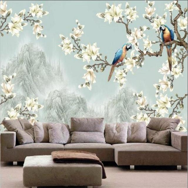 Chinese Designs Wash Painting White Flower And Parrots