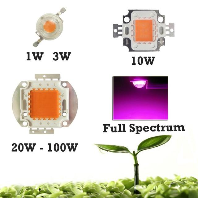 High Power 10W 20W 30W 50W 100W Full Spectrum LED Grow Light Diode 400~840nm 45mil BridgeLux + AC 110~220V lighting transformers