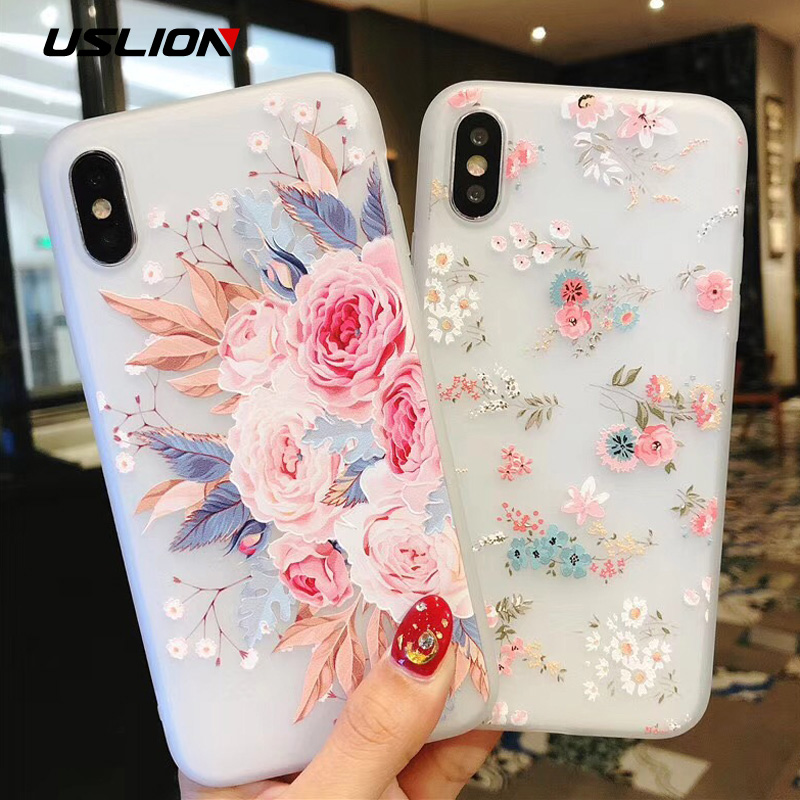 USLION Flower Silicon Phone Case For iPhone 7 8 Plus XS Max XR Rose Floral Cases For iPhone X 8 7 6 6S Plus 5 SE Soft TPU Cover for iphone 7 plus floating glitter sequins tpu cell phone shell casing smile