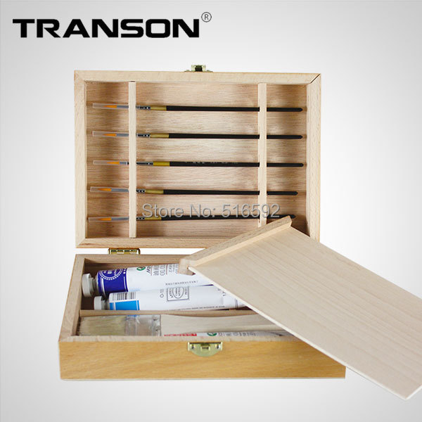 Transon Fine Artist tabletop wooden easel box,plus a square wood palette,mini wood easel box for painting,paint box,art supplies