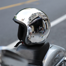 Retro vintage scooter jet helmet capacete moto casco de la motocicleta del cromo espejo 3/4 vespa open face cascos motocross ktm