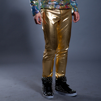 Fashion Cool Male Bling Gold Silver Slim Long Pants Bar Club Singer Dance Stage Performance Trousers