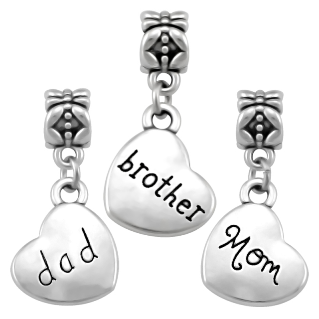 01aa72eb7 Heart Family Set Pendant Brother Charms Fit Pandora Charm Beads Bracelets  DIY Fashion Jewelry Making For Women SPP158