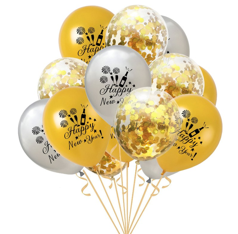 helium balloons Confetti balloon combination 15pc 12inch thickened ballons for happy new year decoration anniversaire party in Ballons Accessories from Home Garden