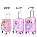 Baby Girls Princess Sofia Luggage/Kids ABS Pink Travel Suitcase On Wheels/18'' 19'' 20'' Designer Hardside Spinner Trolley Bags