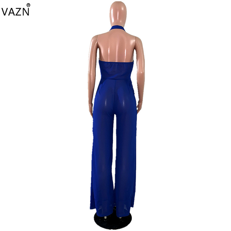 VAZN summer 2019 new women fashion casual sleeveless hanging neck comfortable blue jumpsuits long pants MDF5057
