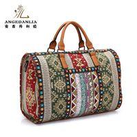 Women Bohemian Boho Bucket Handbag Flower Pattern Beading Shoulder Bag Cotton Fabric Canvas National Ethnic Large