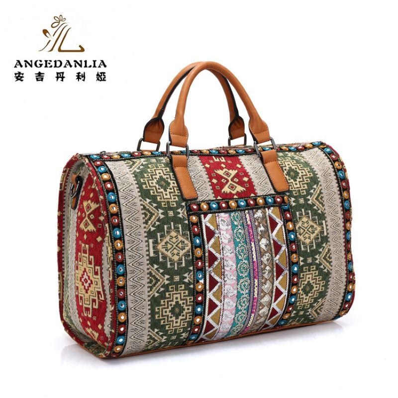 women Bohemian Boho bucket Handbag flower pattern beading shoulder bag Cotton Fabric Canvas national ethnic large massager bags national trend women handmade faced flower embroidered canvas embroidery ethnic bags handbag wml99
