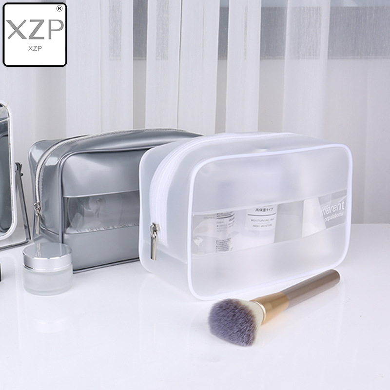 XZP Brand PVC Silver White Transparent Beauty Organizer Pouch Fashion Female Jelly Bag Lady Makeup Pouch Women Cosmetic Case