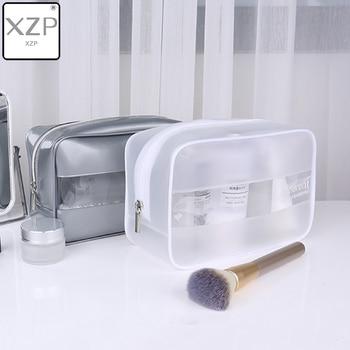 XZP Brand PVC Silver White Transparent Beauty Organizer Pouch Fashion Female Jelly Bag Lady Makeup Pouch Women Cosmetic Case