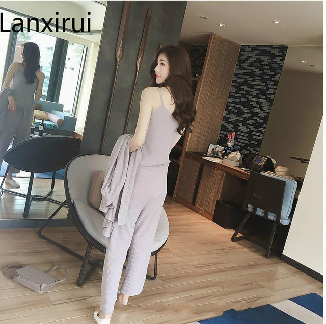 3 Pieces Set Knitted Pullover Sweaters Tops Deep V-neck Long Sleeve Sweatshirt Pants Women's Sets 3