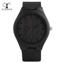 YISUYA Creative Wooden Watch Minimalist Clock Bamboo Genuine Leather Fashion Men Women Male Female Reloj de madera