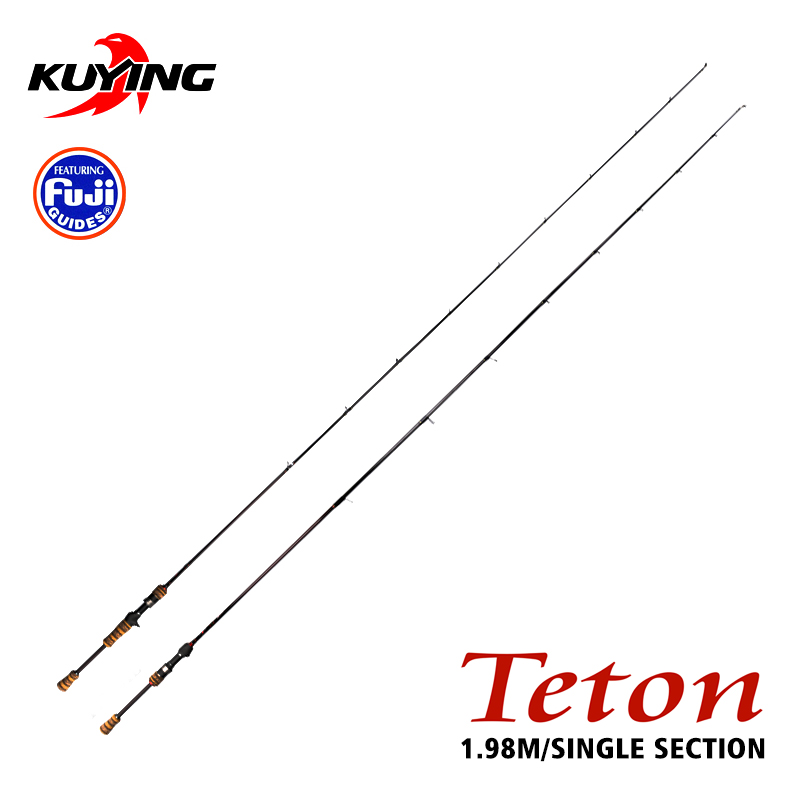 KUYING TETON L 1.98m Casting Spinning Carbon Fiber Fishing Rod Cane Pole Stick Medium Fast Action FUJI Spare Parts 1 Section