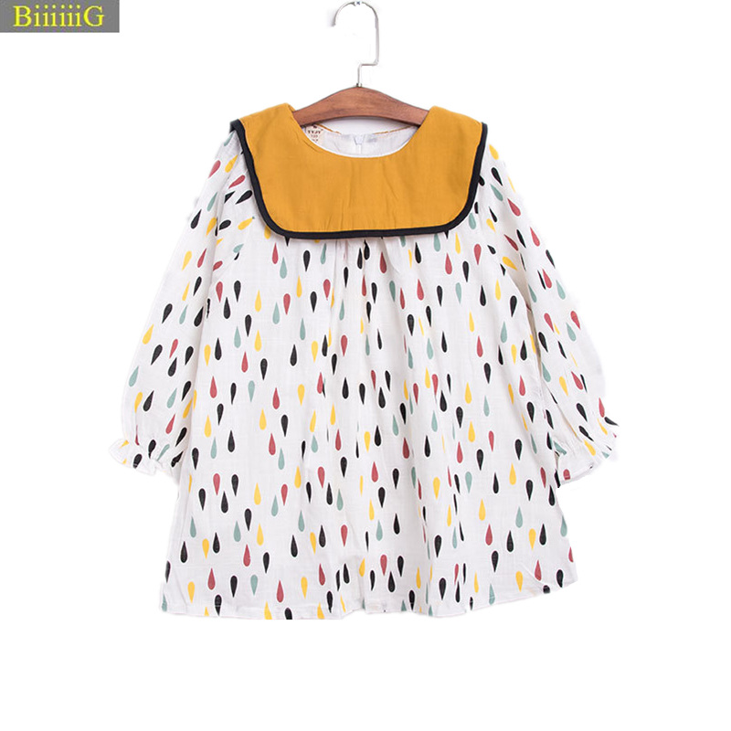 2018 Girl Dress Spring Autumn Kids Clothes Fashion Color Dots Print Dresses Birthday Gift Grils High Quality Casual Costume 3-8y