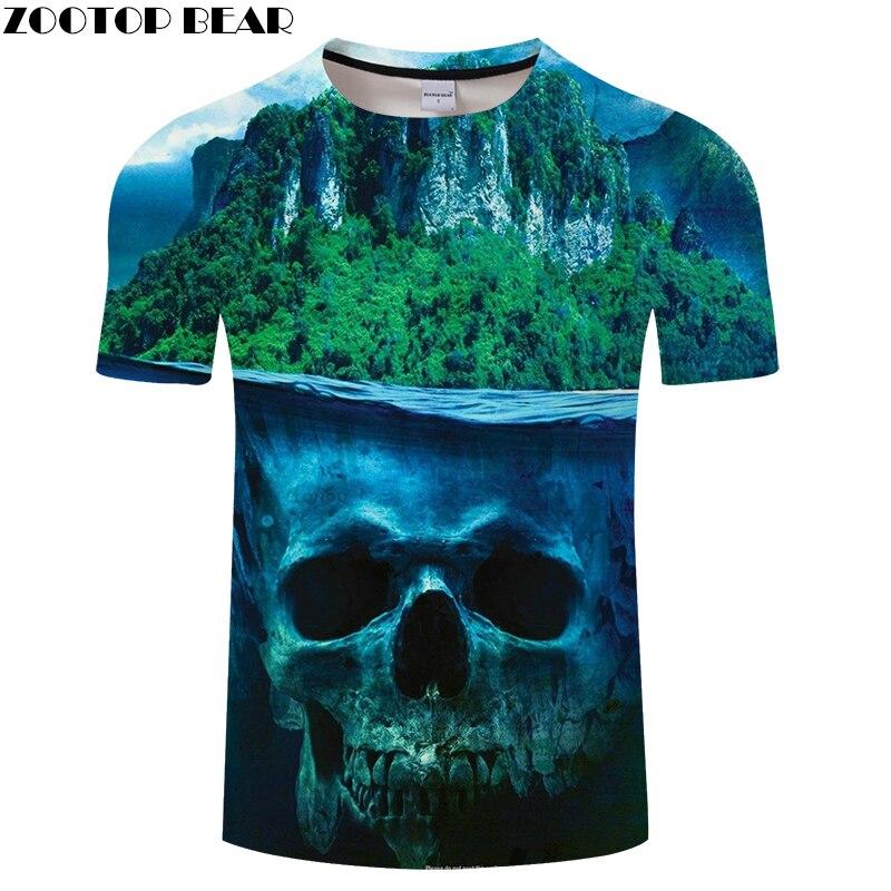 Forest 3D t shirt Men tshirts Skull T-Shirt Summer Tops Casual Tees Short Sleeve Personality Camiseta Hot Drop Ship ZOOTOP BEAR