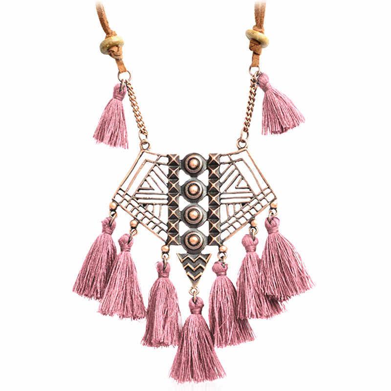 DIEZI Bohemia geometría lana COLLAR COLGANTE con borla 7 colores rosa étnico suéter cadena con flecos collar joyería