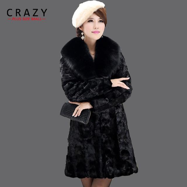 2018 New Plus Size XXL 3XL 4XL 5XL Winter Women Luxury Black Faux Mink Fur  Coat With Fur Collar Vintage Ladies Fake Fur Coats 3f2940fdceb2