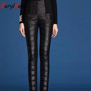 Image 4 - BerylBella Winter Women Pants  Casual High Waist Zipper Slim Double Faced Duck Down Warm Black Bule Pencil Pants Trousers