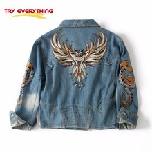 Try Everything 2017 Fashion Winter Jeans Jacket Embroidery women With Owl Snake Embroidered Zipper Denim Motorcycle Jacket Women
