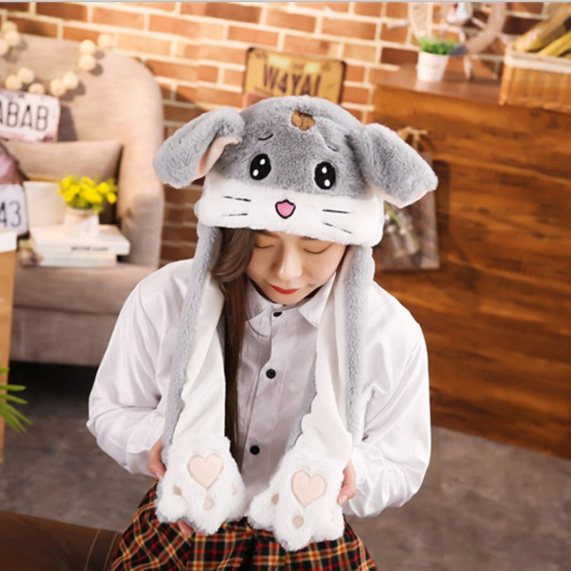 Hot New 2019 Style Attractive Kids Cuddly Moving Ear Plush Unicorn Hat Soft Hamster Hat Dance Plush Toy For Gift