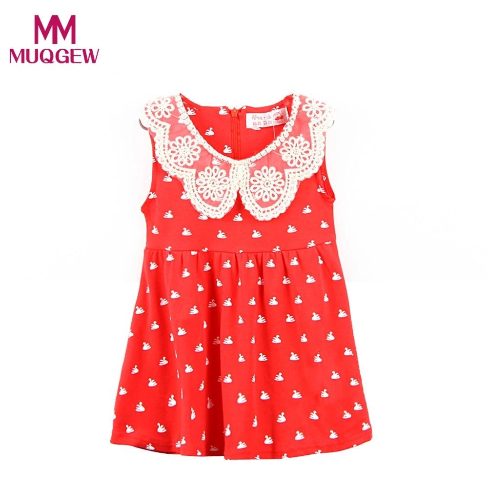 Baby Girls Lace Collar Princess Dress Swans Printed Sleeveless Dress Cute Cartoon Clothes High Quality Girl Dresses