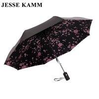 JESSEKAMM Peach Blossom Automatic Compact Folding Sun Rain Umbrellas Strong Frame Fiberglass Spokes For Women Ladies