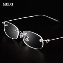 Armação de metal sem aro de vidro míope ultraleve boxed miopia míopia míope óculos femininos-1.0 -1.5 -2 -2.5 -3 -3.5 -4