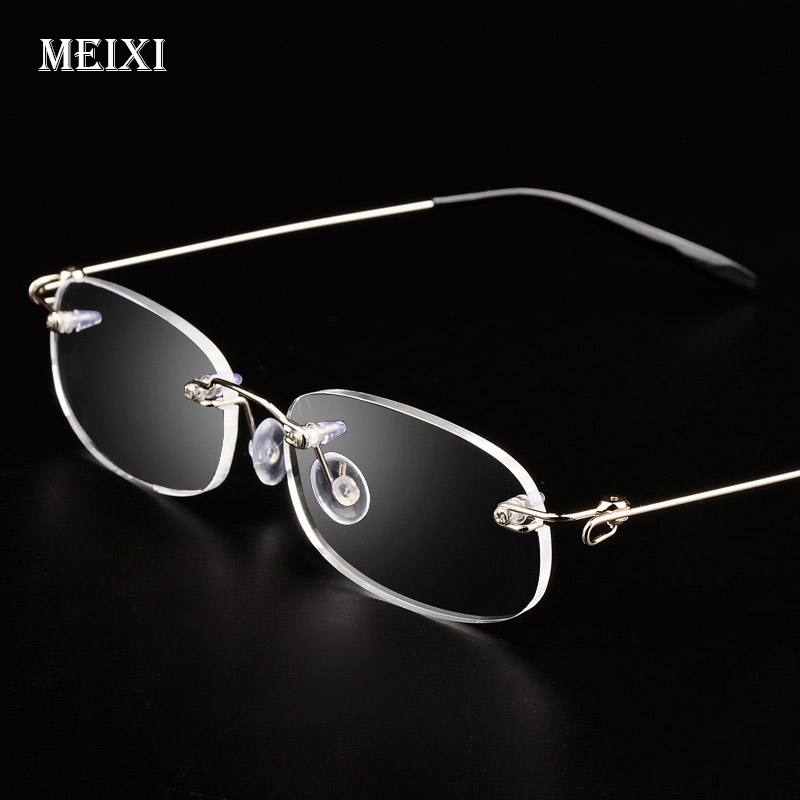 Rimlös metallram Nätsiktig glas Ultralätt Boxed Kortsynt Myopi-glasögon Kvinnor Män -1,0 -1,5 -2 -2,5 -3 -3,5 -4