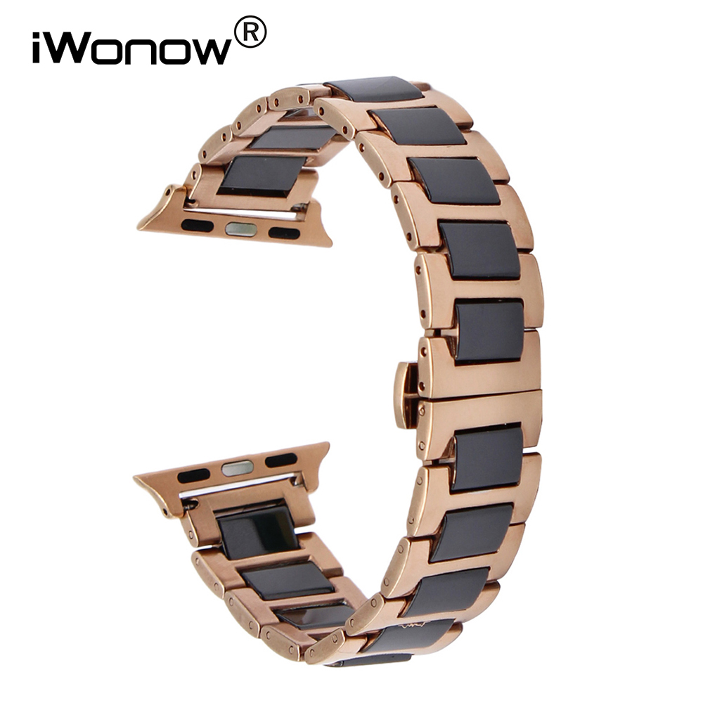 Ceramic + Stainless Steel Watchband for 38mm 42mm iWatch Apple Watch Sport Edittion Butterfly Buckle Band Wrist Strap Bracelet wristband silicone bands for apple watch 42mm sport strap replacement for iwatch band 38mm classic stainless steel buckle clock