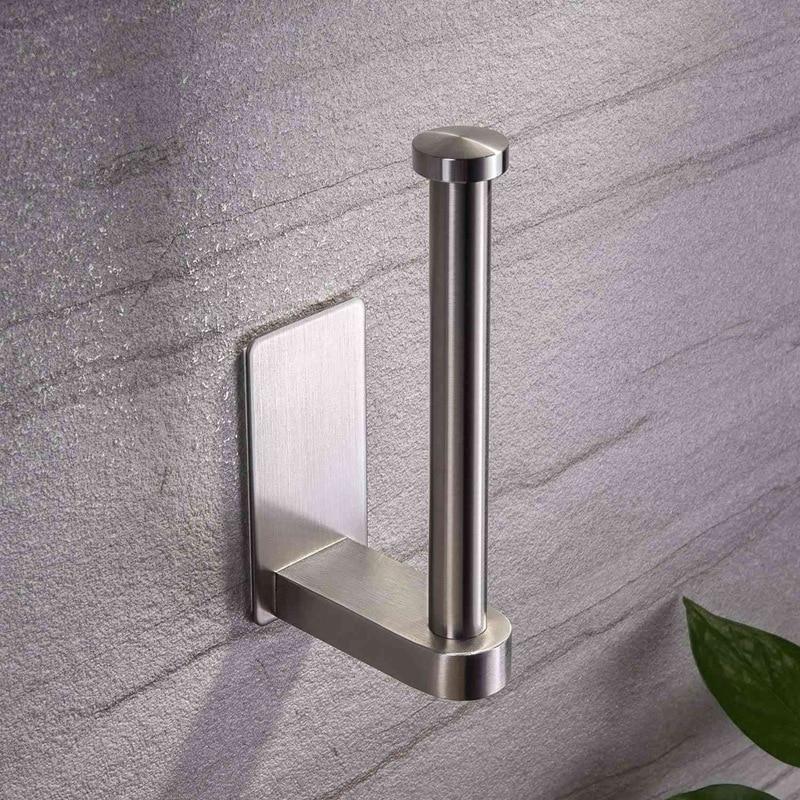 Купить с кэшбэком Self Adhesive Toilet Paper Holder-Bathroom Toilet Paper Holder Stand No Drilling Stainless Steel Brushed