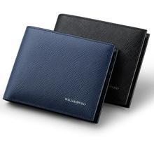 WilliamPOLO portefeuilles de marque de luxe pour hommes, 100% en cuir de vache court, à deux volets, Mini cuir véritable, porte cartes, fentes, petit format portable