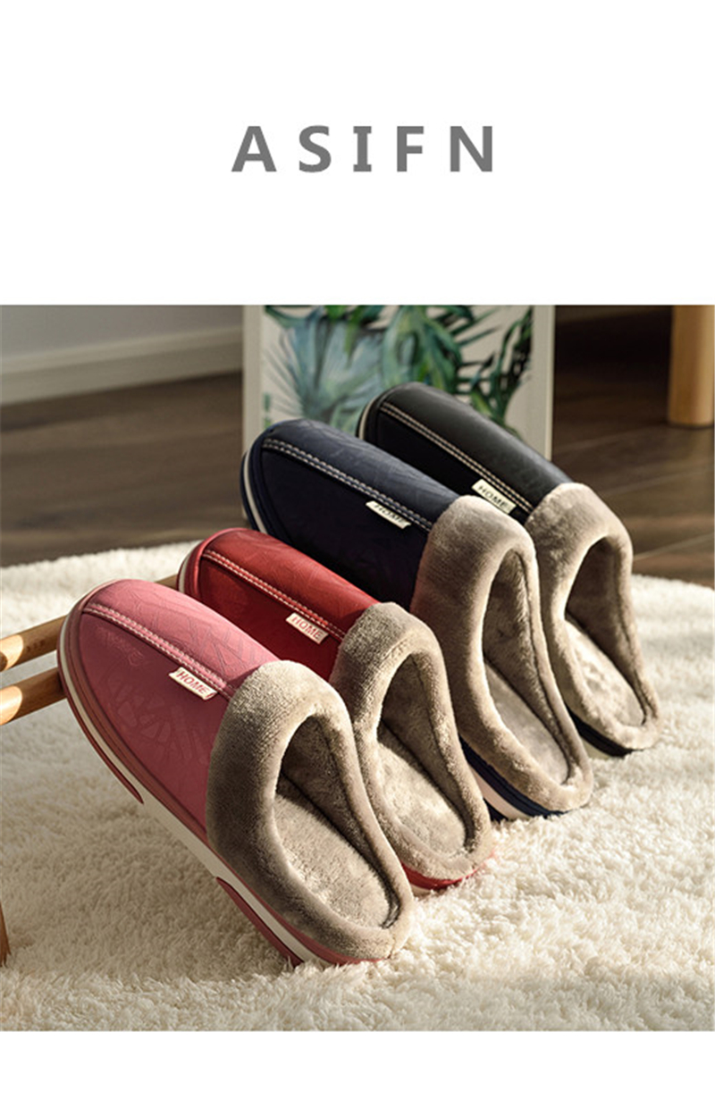 HTB19AGHayzxK1RjSspjq6AS.pXaJ - ASIFN Men's slippers Winter slippers Non slip Indoor Shoes men leather Big size House shoe Waterproof Warm Memory Foam Slipper