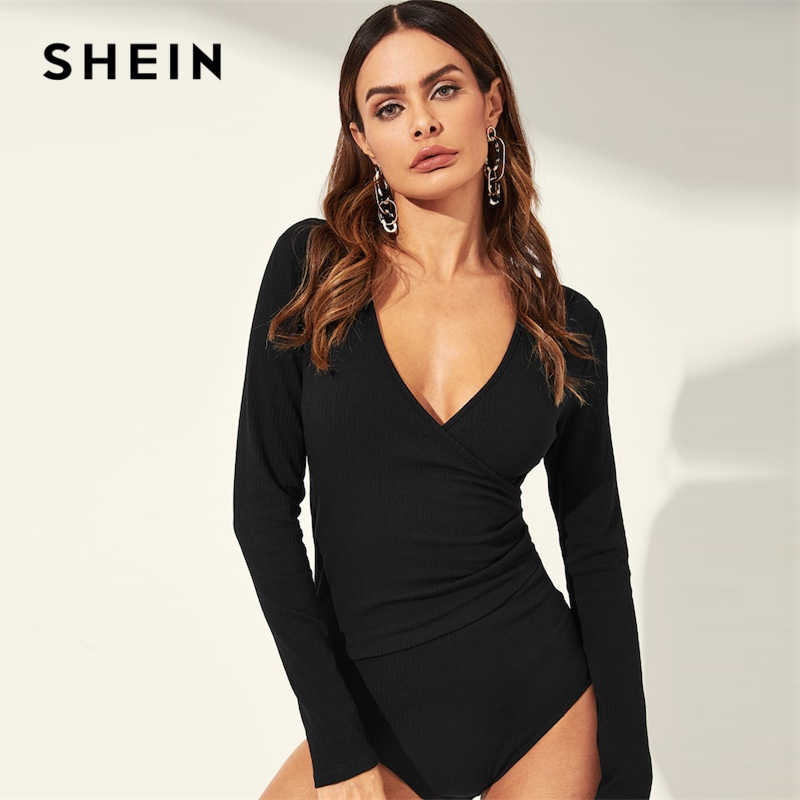 72ec0b92b9 SHEIN Black Surplice Neck Ruched Detail Ribbed Wrap Skinny Plain Bodysuit  Long Sleeve Women 2019 Spring