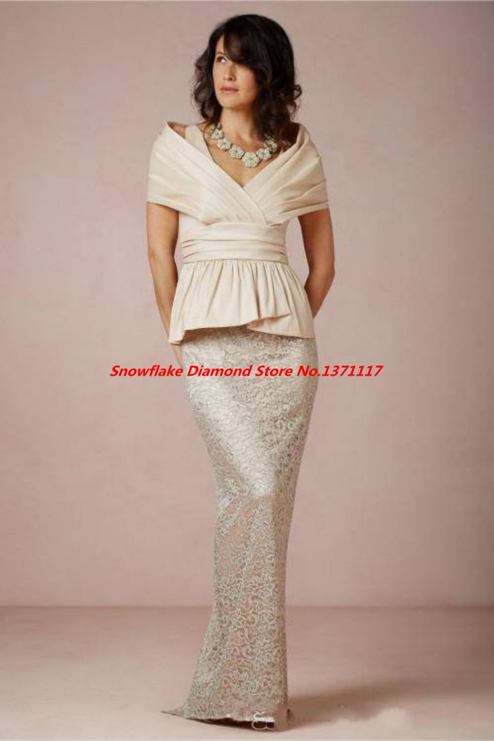 Plus size lace off shoulder mother of bride dresses peplum for Plus size sheath wedding dress