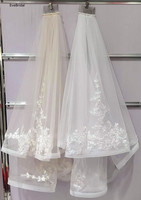 2 Layers White Ivory Applique Elbow Length Satin Edge Wedding Bridal Veil with Comb